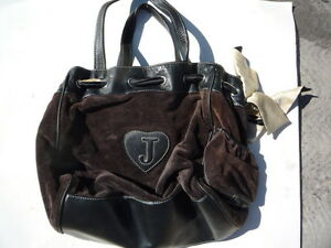 Juicy-Couture-black-leather-brown-velour-pocket-book-Ex-cosmetic-condition