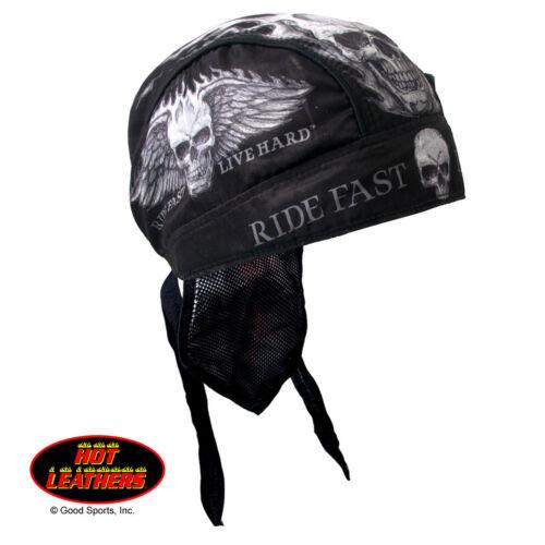 Ride Fast Live Hard Skull Premium Head Wrap Sweatband Vented Mesh Lined Interior
