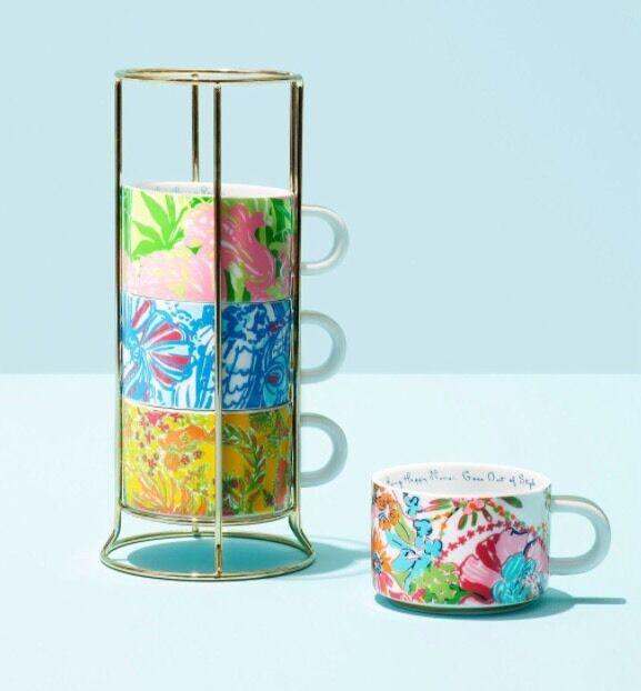 Lilly Pulitzer Target CERAMIC ESPRESSO 4 Cups Coffee Mugs Gold Caddy FREE SHIP