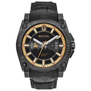 Bulova Grammy Edition Precisionist Men's Black Leather Strap 46.5mm Watch 98B293