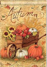 """Autumn Cart Garden Flag Fall Sunflower Pumpkin Leaves Mini Banner  12.5"""" x 18"""""""