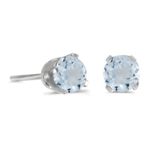 Sterling-Silver-Round-Aquamarine-Stud-Earrings