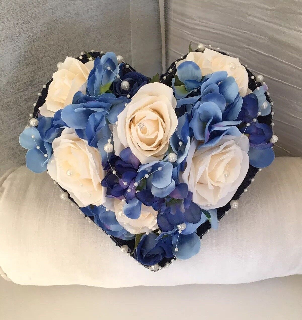 Heart Shaped Wedding Bouquet In Navy Blau And Champa - Bride Wedding Flowers