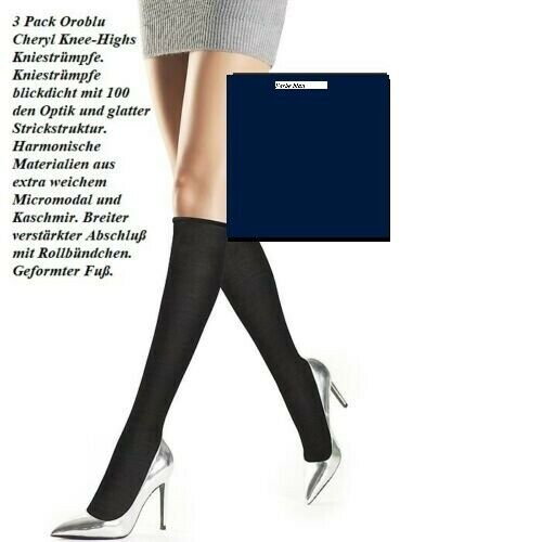 3 Pack Oroblu Cheryl Knieststrümpfe 100 DEN Mikromodal/Kaschmir blau One Size