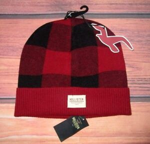 021297802 Details about MENS HOLLISTER CHECKED RED BLACK BEANIE HAT ONE SIZE