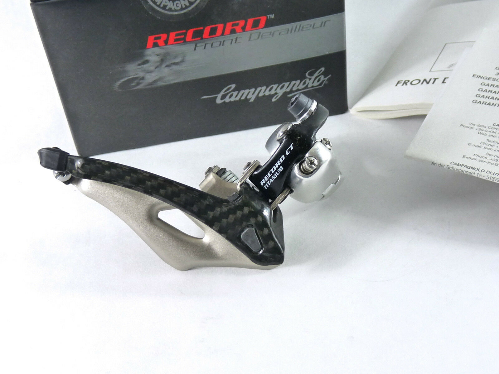 Desviador delantero Campagnolo Record Compacto Titanio & Cochebono Bicicleta Compacto 28.6 Nuevo Viejo Stock