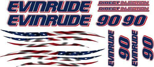 LG EVINRUDE outboard motor Decal kit ALL ENGINE SIZES Flag graphic