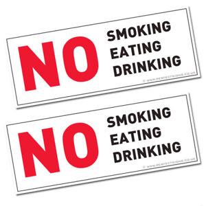 2 X NO SMOKING EATING DRINKING TAXI MINI CAB CAR HGV SIGN STICKERS (STKPN00079)