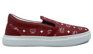 500-MCM-Red-Leather-Slip-On-Sneakers-size-US-12-EU-45-Made-in-Italy