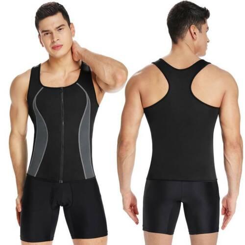 US Men Sauna Sweat Vest Body Shaper Slim Fitness Weight Loss Compression Shirts