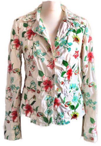 À Was Blazer 8 Floral Multicolores 10 Johnny Multi Fleurs Veste Ivoire Petit Rare 0qg4f