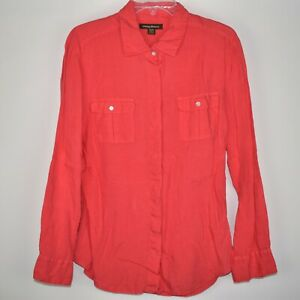 Tommy Bahama Womens Button Up Long Sleeve Shirt Medium Coral Pink 100% Linen EUC