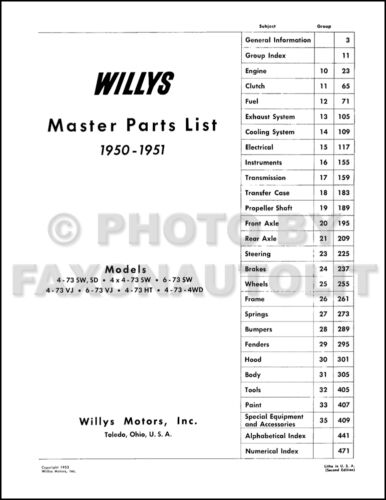 1950 1951 Willys Parts Book Jeepster Jeep Pickup Station Wagon Sedan Delivery