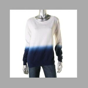 119bd50570 NWT Dip-dye sweater S Cotton Cashmere Blue White Three Dots Relaxed ...