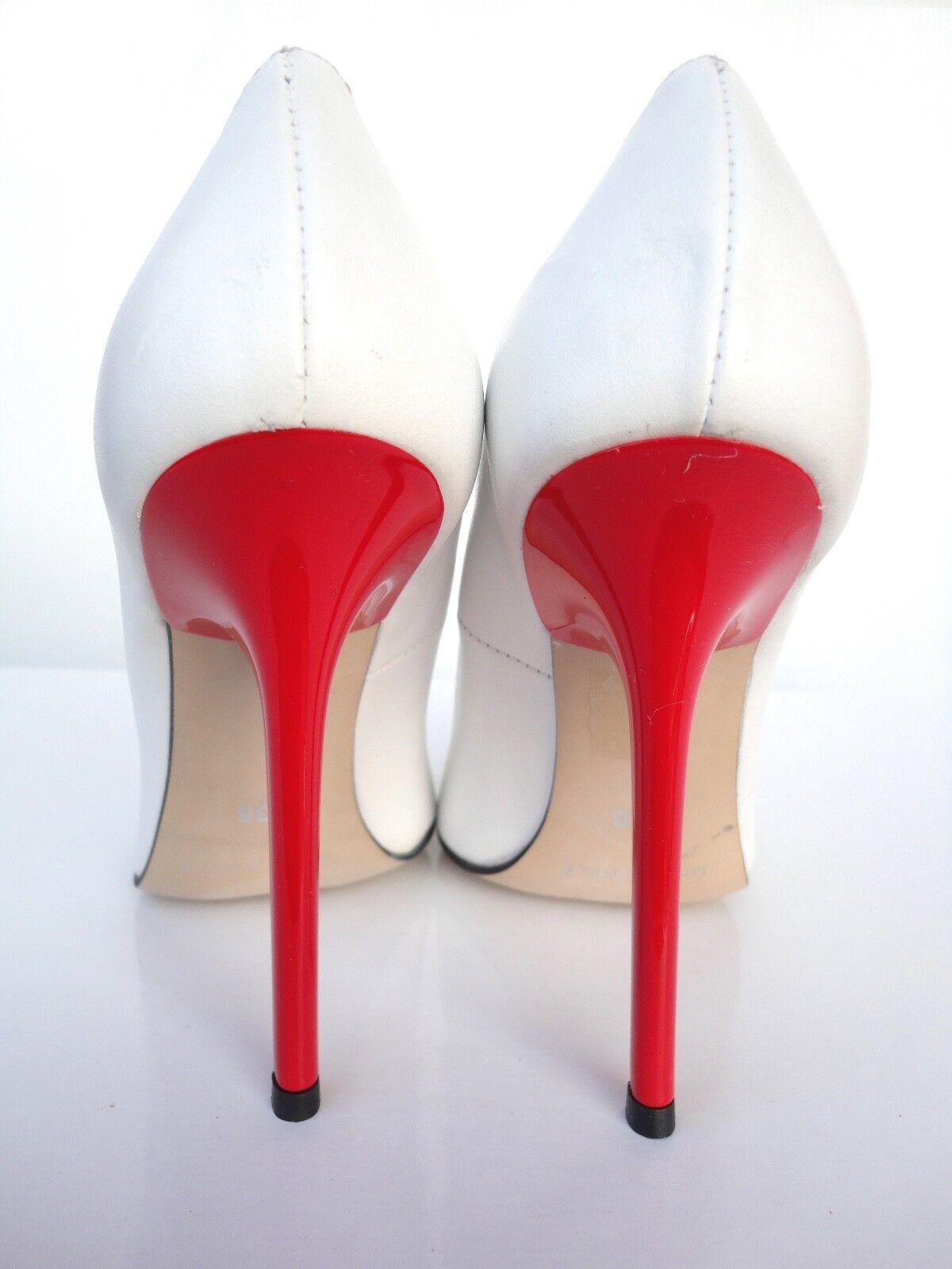 GIOHEL ITALIA ROSSO HEELS POINTY TOE PUMPS scarpeS LETTORE CORTE BIANCO 36