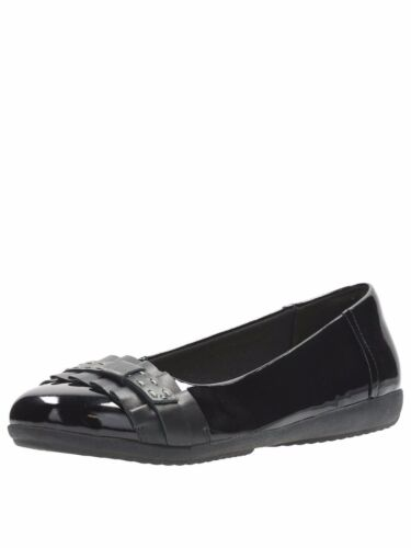 Clarks Ladies Feya Island Black Patent Leather With Frill Detail Ballerina Pump