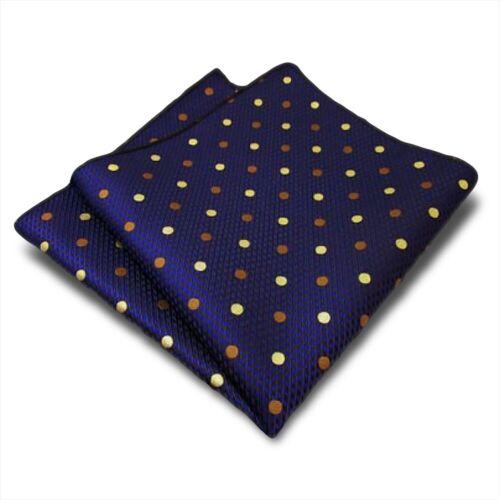 Designer fazzoletto di seta in blu con motivo giallo punti marroni