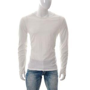 Scotch-amp-Soda-Herren-Tailored-Fit-T-Shirt-Langarm-Top-Gr-XL-Rundhalsausschnitt-weiss