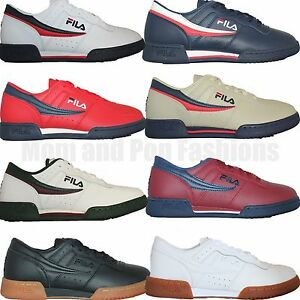 Details about Mens Fila Original Fitness Classic Retro Casual Athletic Shoes White Navy Red