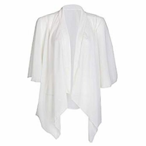 New Womens Ladies Waterfall Mesh Chiffon Kimono open 3//4 Sleeve Cardigan UK 8-26