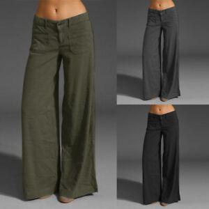 ZANZEA-Femme-Pantalon-Confortable-Taille-basse-Poches-Jambes-larges-Long-Plus