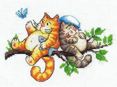 New Counted Cross Stitch Embroidery Kit Cat on the Tree Andriana Manufacture