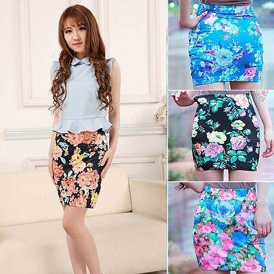 High Waist Chinese Peony Print Short Mini Dress Pencil Skirt Elastic Bodycon