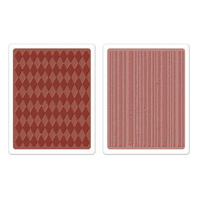 Large Sizzix Harlequin or Stripes Embossing Folder / Carpeta Arlequin o Rayas