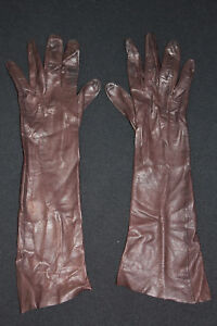 VINTAGE-1950-039-S-LONG-BROWN-FINE-LEATHER-GLOVES-SIZE-5
