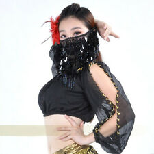 Sexy Black Chiffon Sequins Face Veil Scarf Belly Dancing Costume Dancer