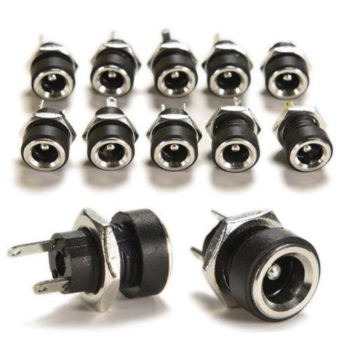 10pcs Black DC Power Supply Jack Socket Female Panel Mount Connector 5.5 x 2.1mm