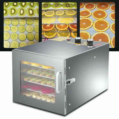 600W Electric Food Dehydrator 6 Trays Fruit 35L Dryer Drying Machine Stainless