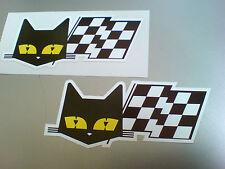 SEV MARCHAL Cat & Flag Retro Vintage Car Stickers Decals 2 off 90mm