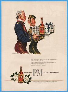 1945-PM-Deluxe-Whiskey-Ad-Bellhop-Waiter-Taking-Drinks-Gifts-Bender-Art