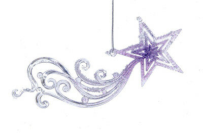 KURT S ADLER FROSTED KINGDOM PURPLE SHOOTING STAR/METEOR CHRISTMAS TREE ORNAMENT