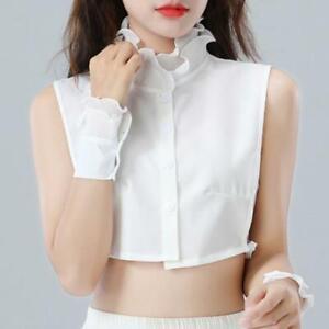 Women-Sweet-Layer-Agaric-Ruffles-Stand-False-Fake-Collar-Button-Down-Half-Shirt