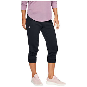 12ed9f6680 Details about 2019 Under Armour Ladies Rival Fleece Cropped Tapered Pant  3/4 Length Capri UA