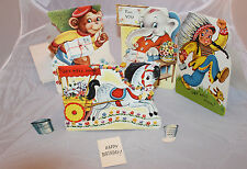 Vintage Greeting Cards 3 Get Well 1 Happy Birthday Stand Up Enclosures