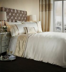 Jacquard-Tisse-raye-creme-dore-housse-couette-simple