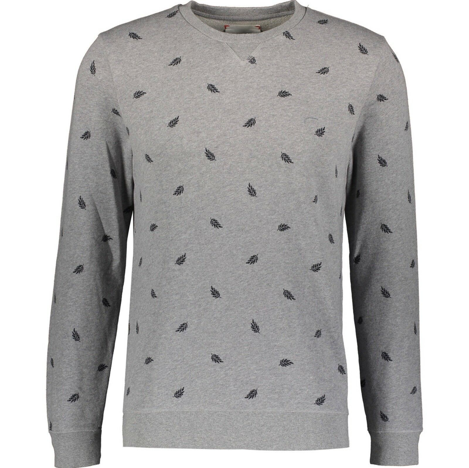 Herren Sweatshirt XL DEREK ROSE Light Grau Feather Print Cornwall UK 44 EU 54