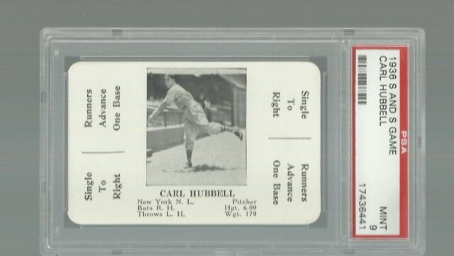 1936 S AND S BASEBALL  CARL HUBBELL  HOF  GREEN BACK  PSA 9 MINT  RARE CARD  MLB