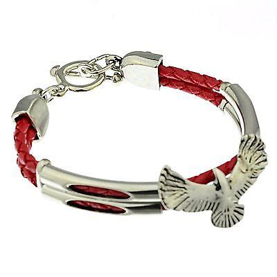 Armband Adler Kunstleder geflochten 19 cm lang rot D-30000