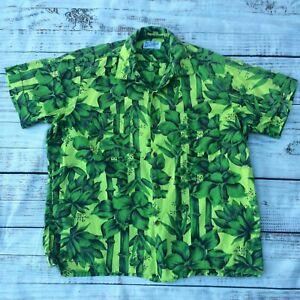 Vintage 40's Herzog von Hollywood grün Hawaii Rayon Aloha Shirt Herren L 16-16.5