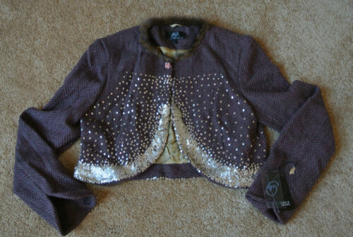 jacket Meaning True 225 Wool Nwt Collared Tweed cropped 12 Sequin mink silver 8x7qd