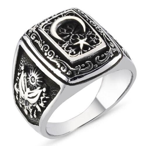 Solid 925 Sterling Silver Turkish Devlet Bahceli Men/'s Ring