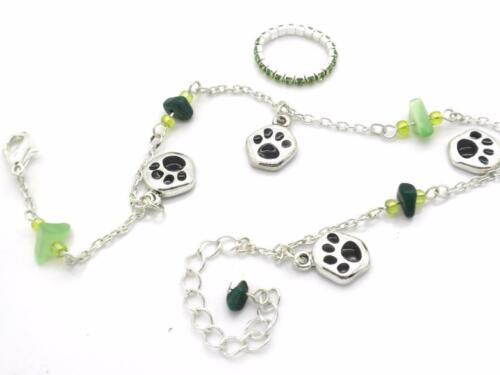 New Dog Paw Anklet Rhinestone Toe Ring Silver Plated Women Stone Ankle Bracelet