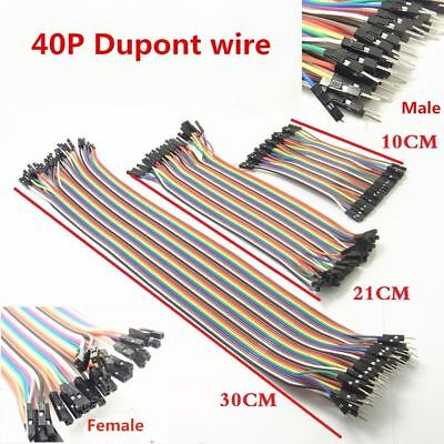 40PCS Dupont Wire Jumper Cables Lead 10//20//30cm M-M//M-F//F-F For Arduino 2.54MM