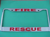 Fire Rescue-license Plate Frame-chromed Cast Metal-814980