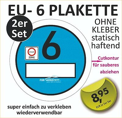 2er set feinstaubplakette euro 6 plakette scherzartikel umweltplakette ebay. Black Bedroom Furniture Sets. Home Design Ideas