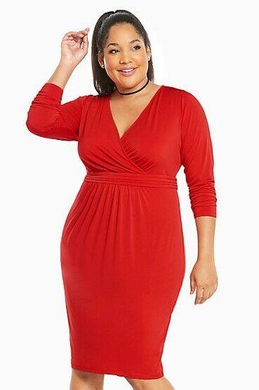 Torrid damen Plus Größe 2X  Dress Shirrot Front Bodycon rot SEXY GLAM (EEE9)